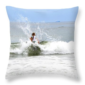 Throw Pillow featuring the photograph Through The Waves by Maureen E Ritter