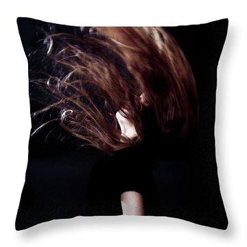 Throwing Hair Throw Pillow by Joana Kruse