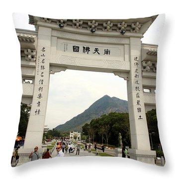 Tian Tan Buddha Entrance Arch Throw Pillow by Valentino Visentini