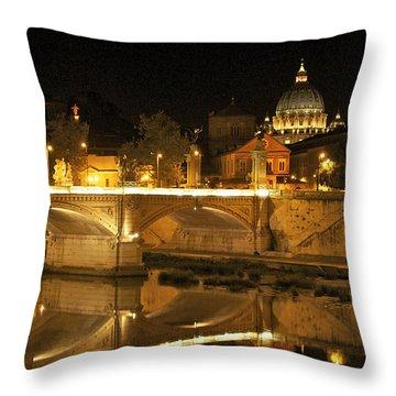 Tiber River And Ponte Vittorio Emanuele II Bridge With St. Peter's Basilica. Vatican City. Rome Throw Pillow by Bernard Jaubert