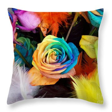 Tie Dyed Roses In Japan Throw Pillow