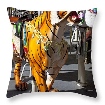 Tiger Carousel Ride Throw Pillow by Garry Gay