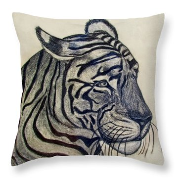 Tiger I Throw Pillow by Debbie Portwood