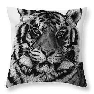 Tiger Throw Pillow by Jyvonne Inman