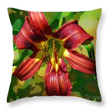 Tiger Lily Throw Pillow by Cindy Manero