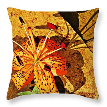 Tiger Lily Still Life  Throw Pillow by Chris Berry