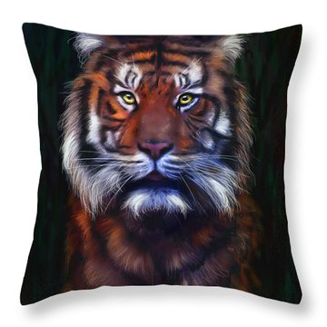 Tiger Tiger Throw Pillow by Michelle Wrighton