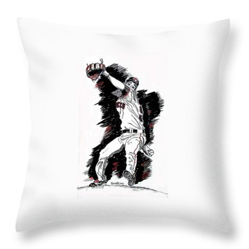 Tim Lincecum Throw Pillow by Terry Banderas