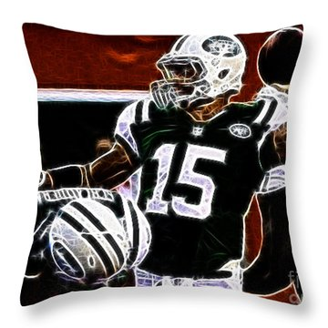 Tim Tebow  -  Ny Jets Quarterback Throw Pillow by Paul Ward