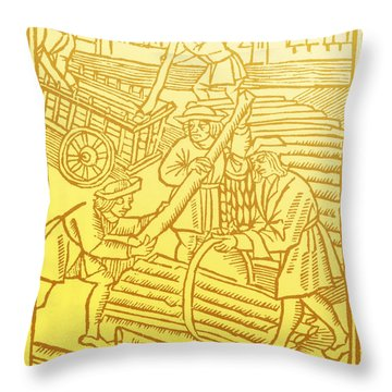 Timber Haulers, Medieval Tradesmen Throw Pillow
