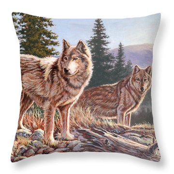 Timber Ridge Throw Pillow by Richard De Wolfe