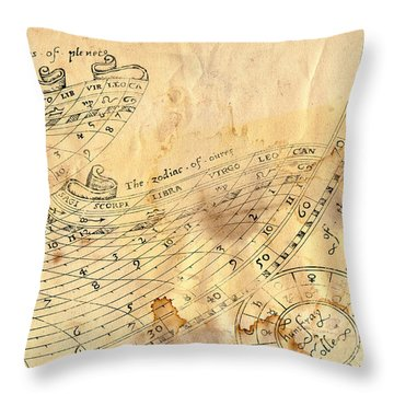Time - Horoscope Signs Throw Pillow by Michal Boubin