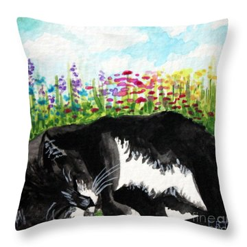 Time For A Snooze Throw Pillow by Elizabeth Robinette Tyndall