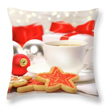 Time For A Tea Break  Throw Pillow by Sandra Cunningham