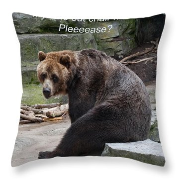 Time Out Bear Throw Pillow