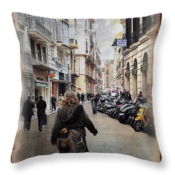 Time Warp In Malaga Throw Pillow by Mary Machare