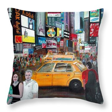 Throw Pillow featuring the painting Times Square by Anna Ruzsan