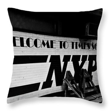 Times Square Nypd Throw Pillow