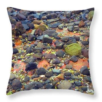 Throw Pillow featuring the photograph Tinopoi Beach Rocks by Mark Dodd