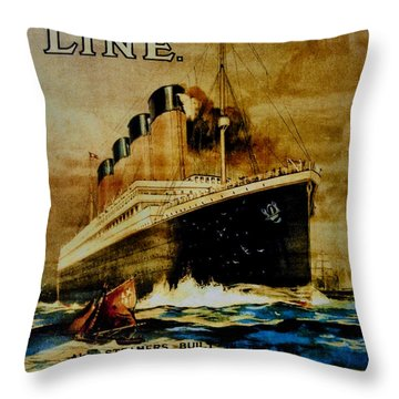 Titanic - White Star Line Throw Pillow by Bill Cannon