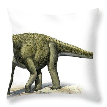 Titanosaurus Indicus, A Prehistoric Era Throw Pillow by Sergey Krasovskiy