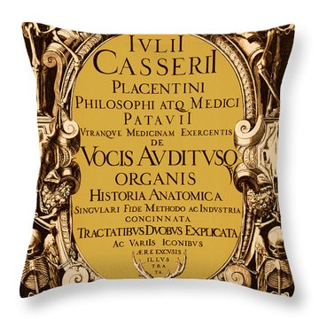 Title Page, Giulio Casserios Anatomy Throw Pillow by Science Source
