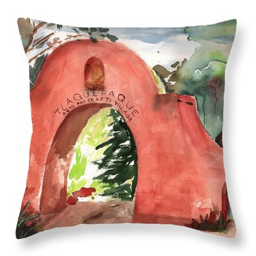 Throw Pillow featuring the painting Tlaquepaque Arts And Crafts Village by Sharon Mick