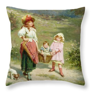 To Market To Buy A Fat Pig Throw Pillow by Edwin Thomas Roberts