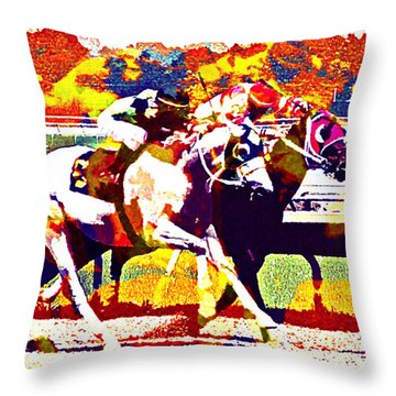 Throw Pillow featuring the photograph To The Finish by Alice Gipson