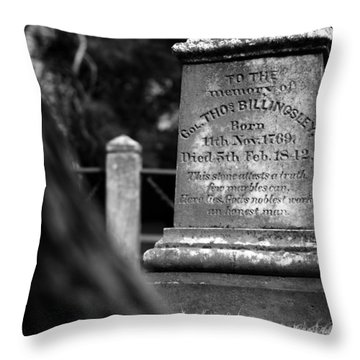 To The Memory Of Colonel Billingsley Throw Pillow by Rebecca Sherman
