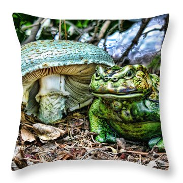 Toadstool Umbrella Throw Pillow