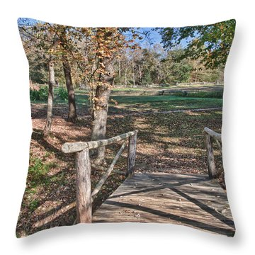 Tobacco Field At Booker T. Washington Monument Park Throw Pillow by James Woody