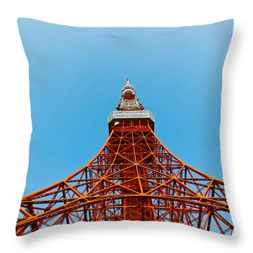 Tokyo Tower Faces Blue Sky Throw Pillow by U Schade