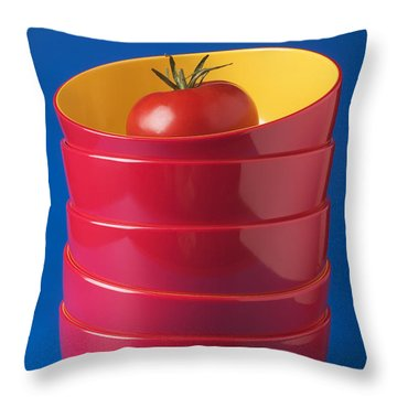 Tomato In Stacked Bowls Throw Pillow by Garry Gay