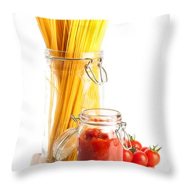 Tomatoes Sauce And  Spaghetti Pasta  Throw Pillow by Amanda Elwell
