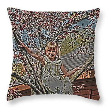Tomboy In The Tree Throw Pillow by Randall Branham