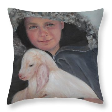 Tony With A Baby Goat Throw Pillow by Carol Berning