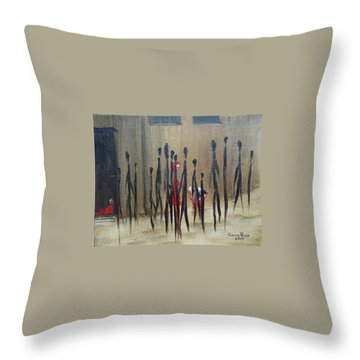Throw Pillow featuring the painting Too Busy To Notice by Judith Rhue