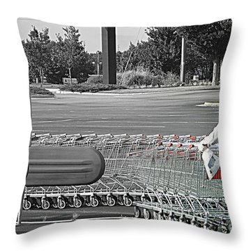 Throw Pillow featuring the photograph Too Many Carts by Renee Trenholm
