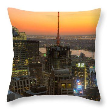 Top Of The Rock Twilight Ix Throw Pillow by Clarence Holmes