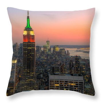 Top Of The Rock Twilight X Throw Pillow by Clarence Holmes