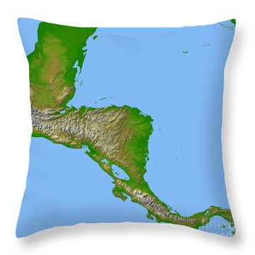 Topographic View Of Central America Throw Pillow by Stocktrek Images