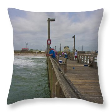 Topsail Island Sc Pier Throw Pillow by Betsy Knapp