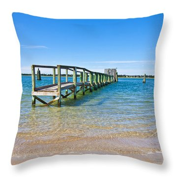 Topsail Island Sound Throw Pillow by Betsy Knapp