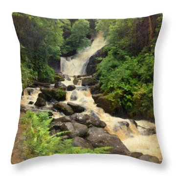 Torc Waterfall In Ireland Throw Pillow