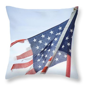 Torn American Flag Throw Pillow by James BO  Insogna