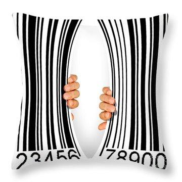 Torn Bar Code Throw Pillow by Carlos Caetano