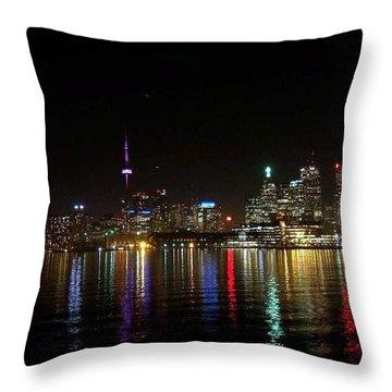 Toronto Skyline At Night Throw Pillow by Lingfai Leung
