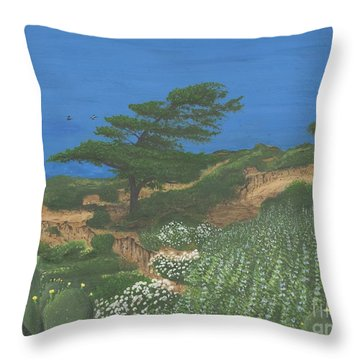 Torrey Pines And Pelicans Throw Pillow