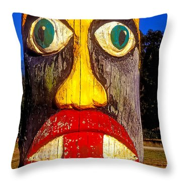 Totem Pole With Tongue Sticking Out Throw Pillow by Garry Gay